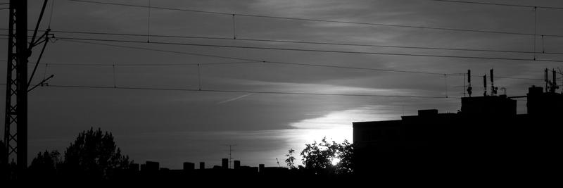 Stadtsonnenuntergang in S/W